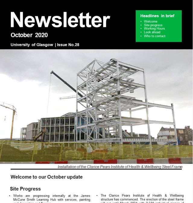 Multiplex University of Glasgow Campus Development – October 2020 Newsletter